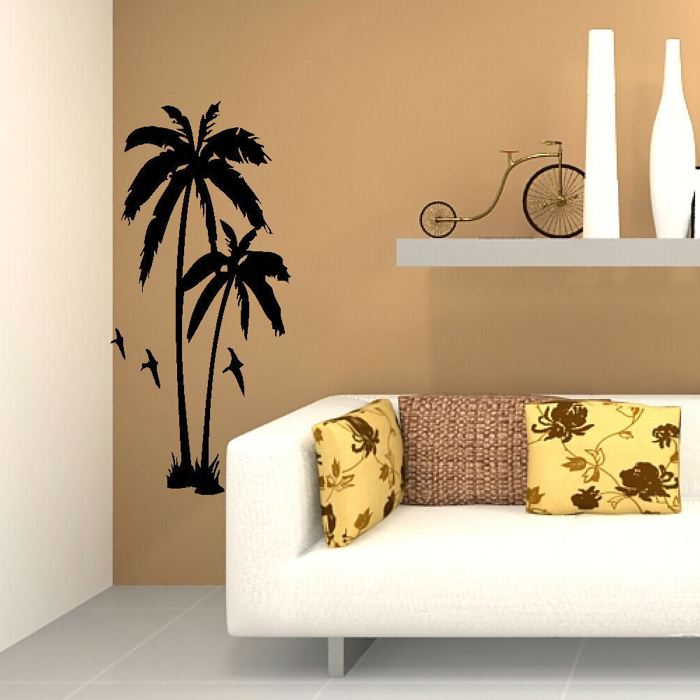 Bedroom wall art trees - Aliexpress Com Buy Huge Palm Tree Hall Bedroom Wall Art Mural Giant Graphic Sticker Matt Vinyl Wallpaper Wall Decals From Reliable Wall Decals Suppliers