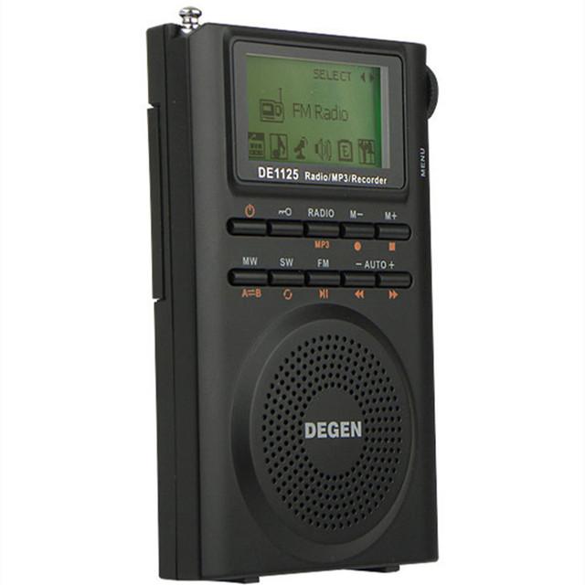 Degen de1125 digital de banda completa receptor tuning 4 gb rom portátil multifuncional de radio am fm estéreo mp3 play envío gratis