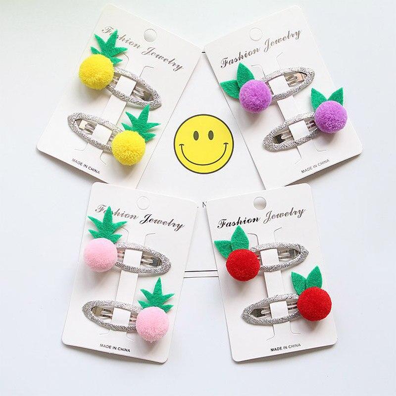 MIXIU 2Pcs/Set Fashion Cute BB Hairpins Fruit Pineapple Hair Clip Candy Color Princess Barrettes Little Girl Hair Accessories