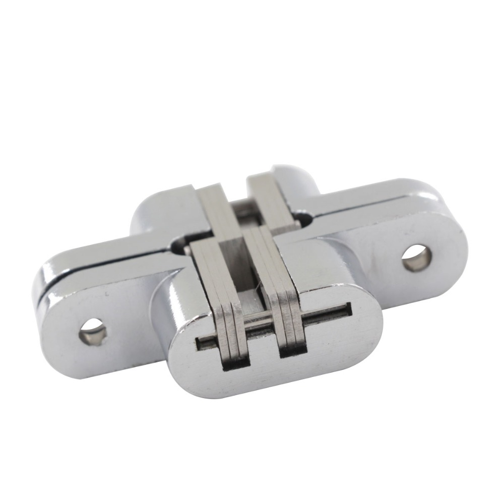 3# Zinc Alloy Hidden Hinges Soft Close Concealed Cross Door Hinge Fit for 25mm Thickness Folding Door Invisible Hinge
