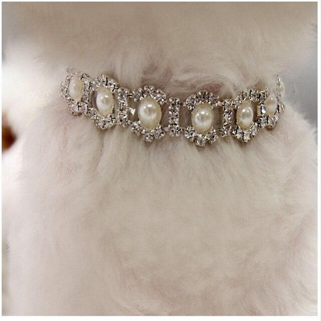 Bling del Rhinestone Della Perla Collana Collare di Cane del Diamante Della Lega