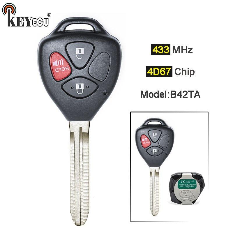 KEYECU Modèle: B42TA 433MHz 4D67 Puce Véritable Remplacement 3 Bouton Clé À Distance Fob TOY43 pour Toyota Hilux 4runner Fortuner