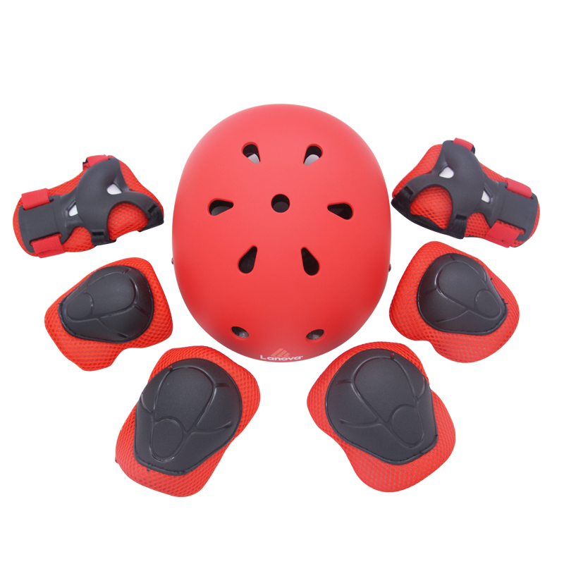 LANOVA Protector 7Pcs/set Cycling Skating Skateboard Helmet Elbow Knee Wrist Pads Children Bike Bicycle Roller Protect gear