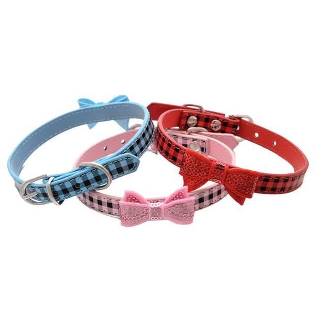 XS/S/M 1Pcs Pet dog Collar Puppy Choker ogs Cat PU Leather Solid Personalized Necklace Adjustable RED PINK BLUE