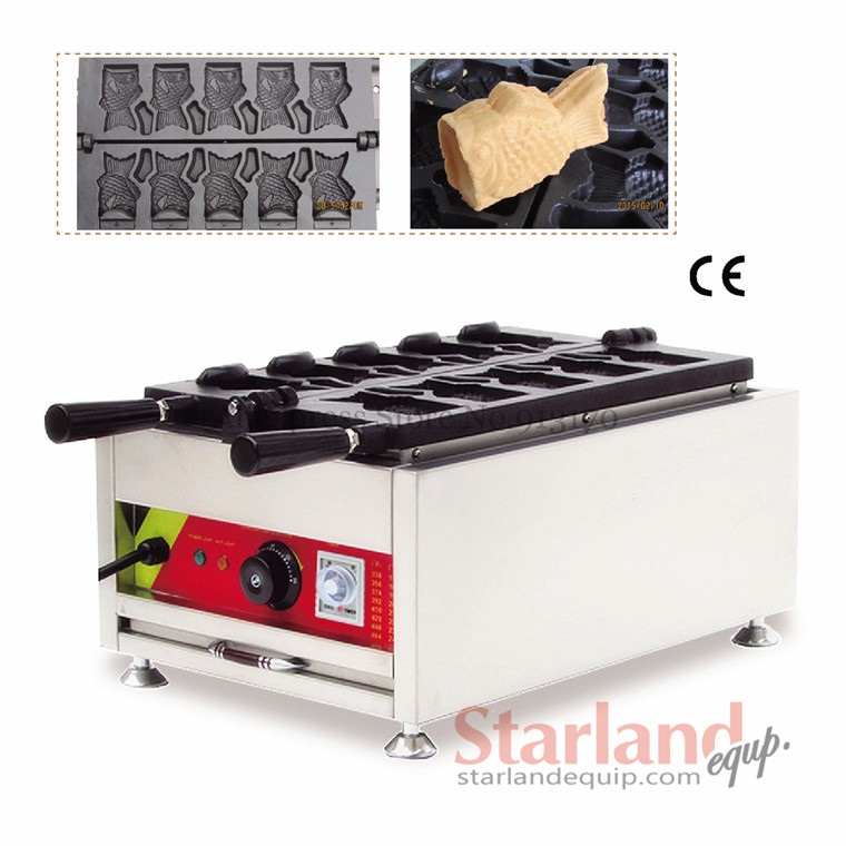 Commercial ice cream taiyaki maker 5 moulds open-mounth fish waffle machine street snack machine 220V 110v electric taiyaki waffle machine fish shape cake waffle baker taiyaki maker wonderful snack machine with 6 moulds