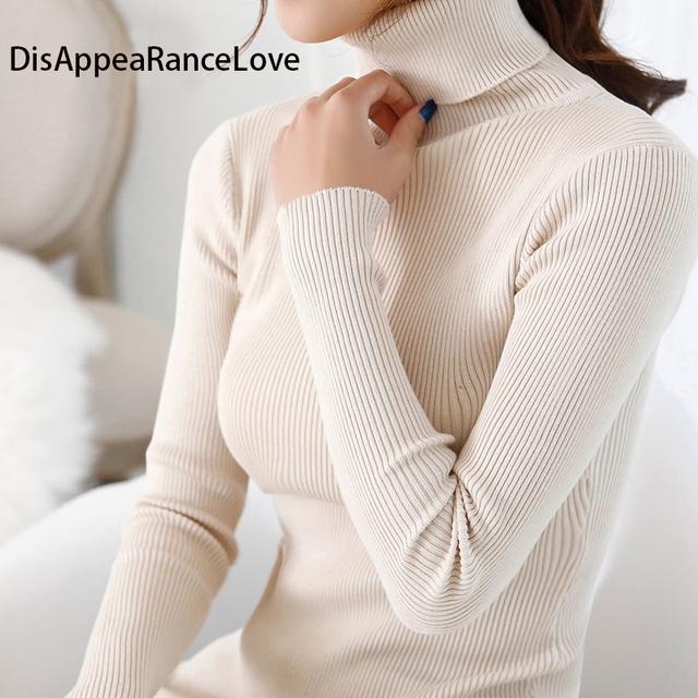 2016 das mulheres fino médio-longo camisola de gola alta camisola espessamento suéter de tricô padrão