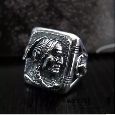 Japan's new silver 925 sterling silver men Indian chief head ring the eagle index finger ring 925 sterling silver zircon double eagle head imported silver ring