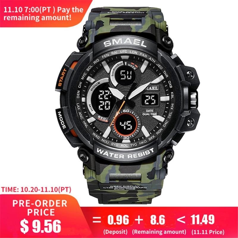 купить Mens Watches 2018 SMAEL Top Brand Luxury Watch Men G Style Military Army S Shock Sport Wrist Watch LED Analog Digital Clock Saat по цене 633.02 рублей