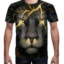 S-4XL 3D Lion Print Men T Shirt Plus Size Tshirt Short Sleeve Man T-shirt Running Fitness Tee Futbolka