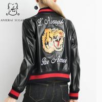 Осень зима овчины Натуральная кожа куртка женские черные с вышивкой головы тигра мотоцикл женский натуральная кожа Бейсбол куртка