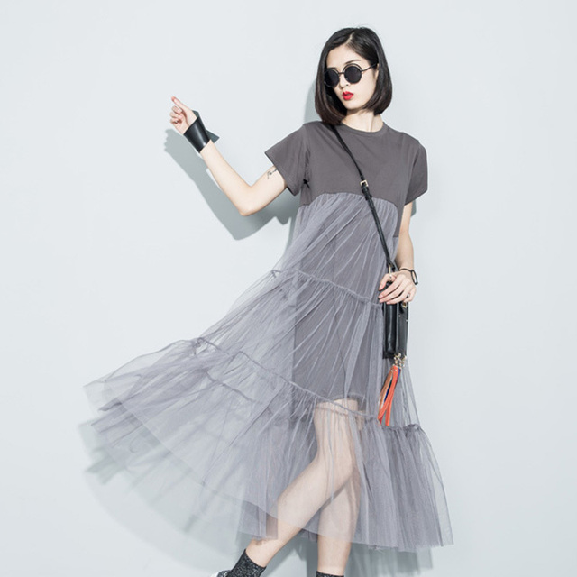 LANMREM 2018 summer new fashion stitching net yarn perspective solid color O- short sleeve loose dress women  wholesale 3361