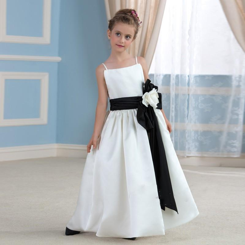 Long Flower Girls Dresses For Wedding Gowns Satin Kids Prom Dresses White And Ivory Mother Daughter Dresses For Girs Party two pieces white ivory sheer long sleeves lace flower girl dresses beautiful wedding party mermaid gowns for kids custom made