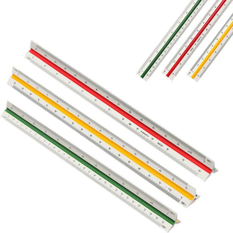 30cm Color Coded Side Triangular Scale 1:100/200/250/300/400/500 Triangular Metric Scale Ruler Engineer Tool 12.6'' Multicolor