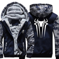 Cosplay Spiderman Spider Men's Hoodies, Sweatshirts Fashion Winter Thick Fleece Zipper Male Hooded Sweatshirts Unisex Jackets