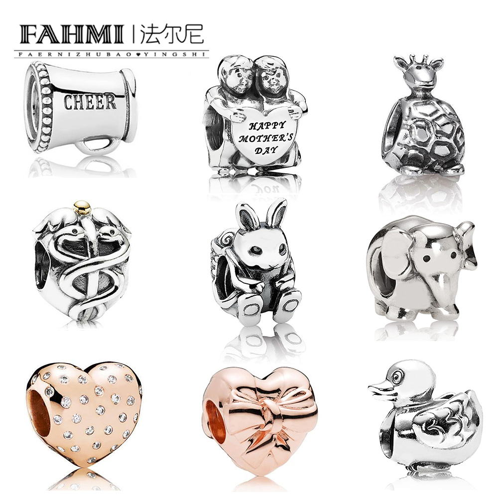 FAHMI 100% 925 Sterling Silver 1:1  ROSE Love Heart BRILLIANT BOW Charm Giraffe Elephant Duck Rabbit Cheer Mothers Day BeadedFAHMI 100% 925 Sterling Silver 1:1  ROSE Love Heart BRILLIANT BOW Charm Giraffe Elephant Duck Rabbit Cheer Mothers Day Beaded