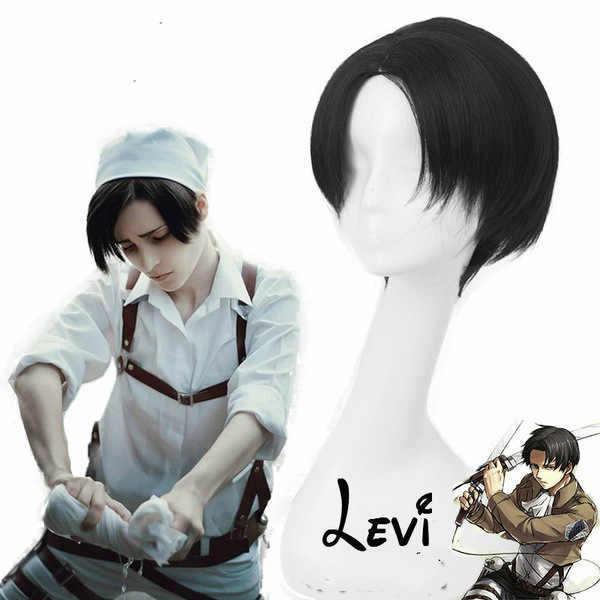 Anime Attack on Titan Levi Ackerman Short Heat Resistant Synthetic Hair Cosplay Accessory Props Halloween Party+Free Wig Cap