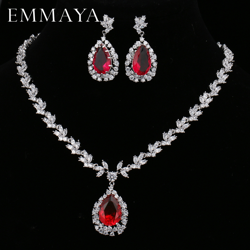 EMMAYA Water Drop Red Cubic Zirconia CZ Jewelry Sets For Women Fashion Party Earrings Pendant Necklace