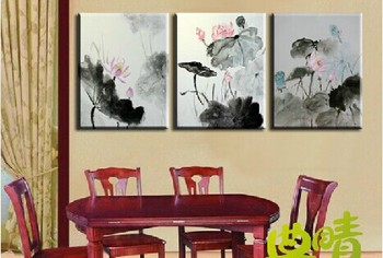Modern fashion abstract oil  painting on canvas very nice Wash lotus  paintings NO frame