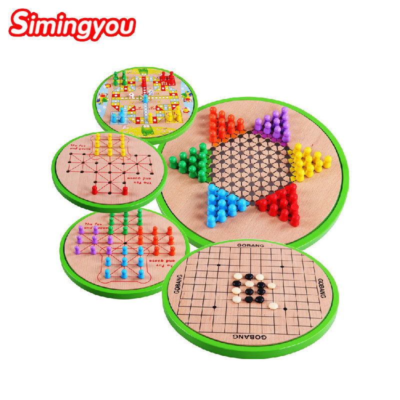Simingyou Wood Toys Multifunction Five-in-one Checkers Backgammon Exercise Children Thinking B40-JF36 Drop Shipping five in one uniting chess wood multifunction checkers backgammon exercise children thinking family board game kids birthday gift