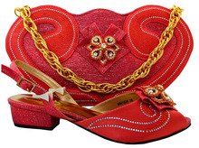Coral Italian Style Shoe with Matching Bag 2017 New Design African Shoes and Bags Italian Sandals Shoe and Bag Set MM1026
