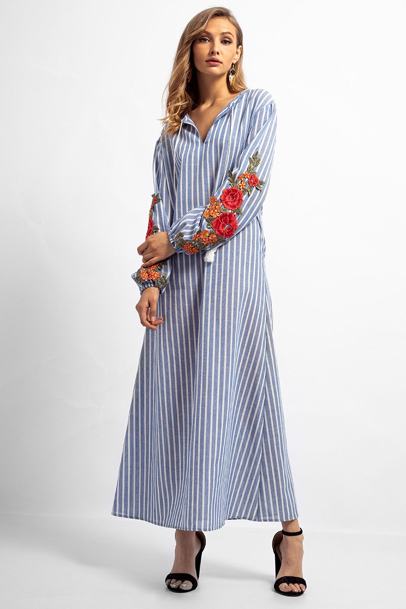 fa73c7ca72 AICVLGR Blue and White Striped Maxi Dress Women Embroidery Flower Long  Sleeve Autumn Dress 2018 Female V Neck Plus Size Robe