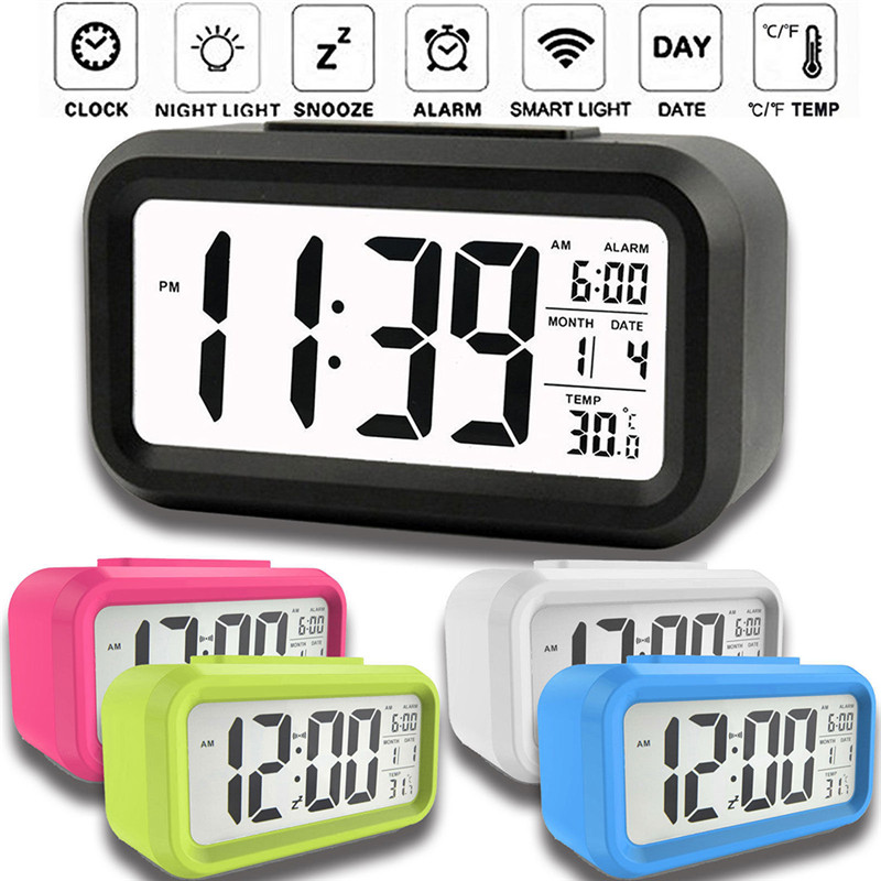 1pc Digital Candy Color Plastic Cube LED Alarm Clock Desk Thermometer Timer ModernStyle Home Office