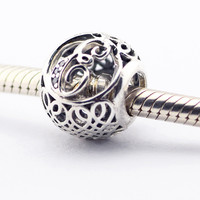 925 Sterling Silver Fits Pandora Charms Bracelet DIY Beads Vintage E With Clear Cubic Zirconia Charm