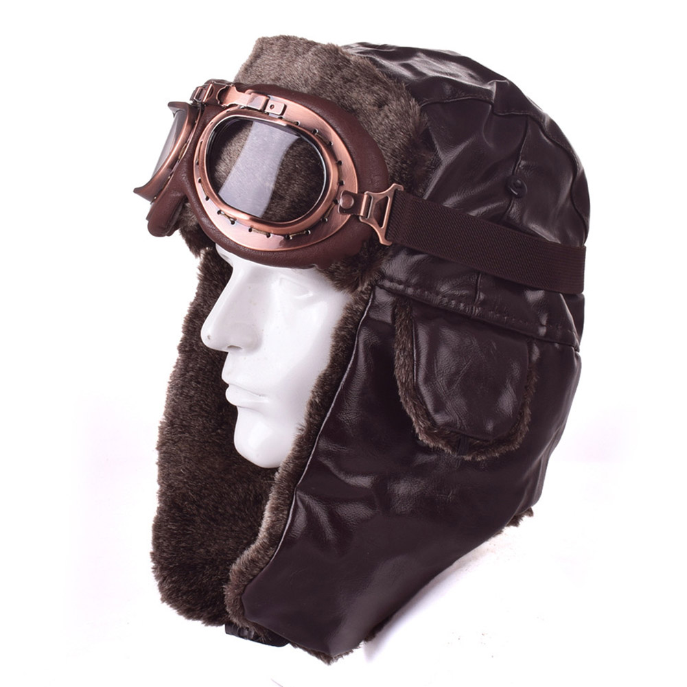 Retro Biker Bomber hat Chopper Face Mask Motorcycle Optional Goggles Windproof PU Leather Army Pilot Moto Vintage Soft ls2 helmet