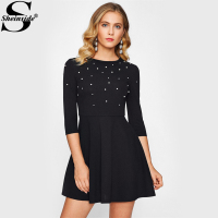Sheinside Pearl Embellished Party Dress Zip Fit Flare Women Black 3 4 Sleeve Skater Dresses 2017