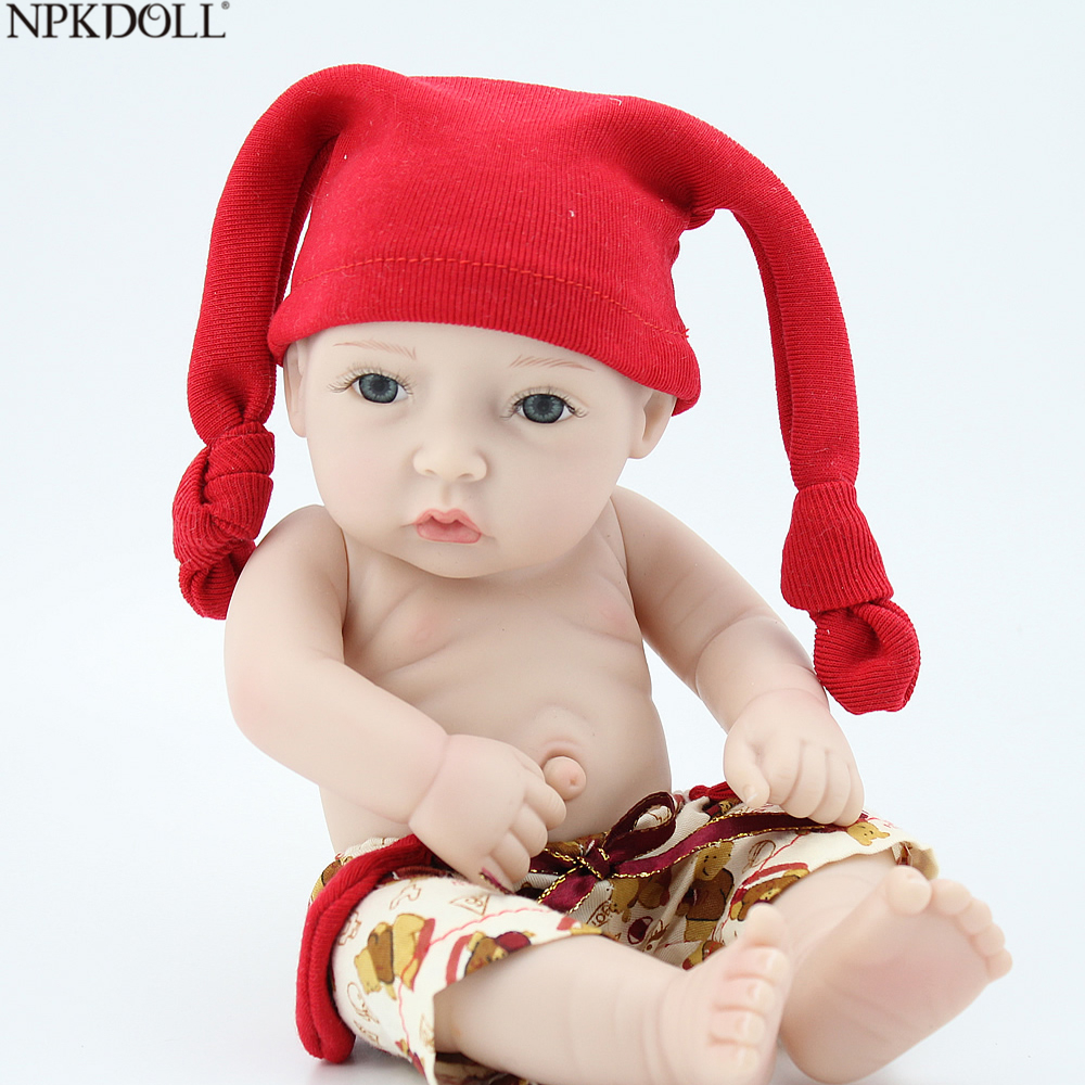 Npkdoll 10 Inch Reborn Baby Dolls For Sale Silicone Realistic Baby Doll Toys For Children Lifelike With Red Hat Cheap Toys Strong Packing Toys & Hobbies Dolls