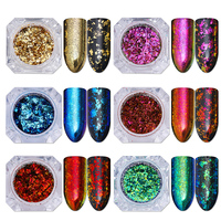 6 Colors Chameleon Nail Glitter Sequins Set Irregular Paillette Flakes Nail Art Flakies Powder Manicure Decorations