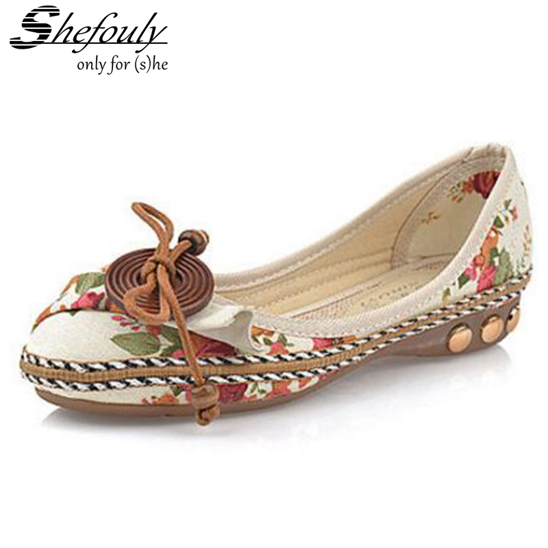 Shefouly Vintage Plus size 40 Casual Flat Shoes Women Flats Handmade Beaded Ankle Straps Loafers Zapatos Mujer Retro Ethnic free shipping wholesale price 30m a lot high quality l amy green matte vinyl car wrap film car sticker with bubble free bw 9013