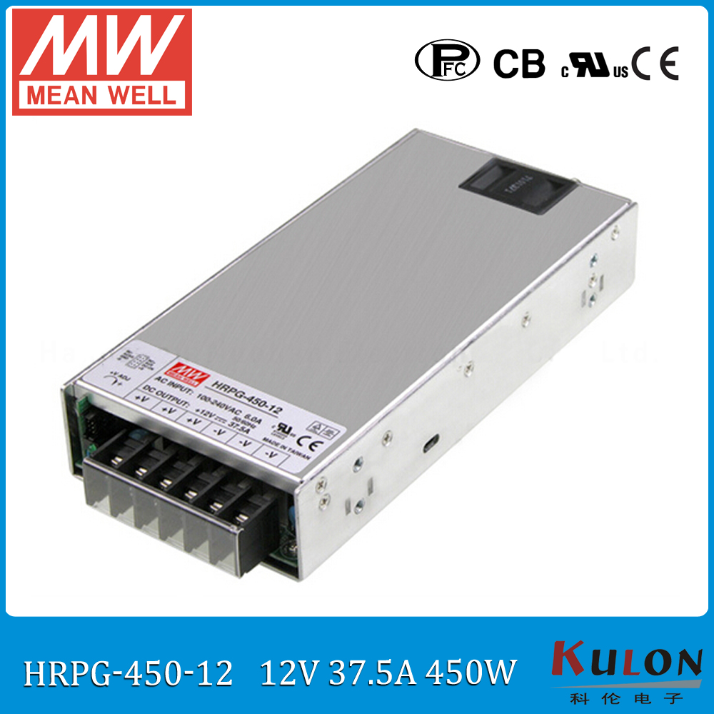 Original MEAN WELL HRPG-450-12 450W 37.5A 12V Power Supply meanwell low power consumption power supply 12V with PFC function блок питания сервера lenovo 450w hotswap platinum power supply for g5 4x20g87845 4x20g87845