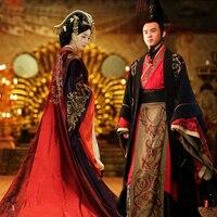 Древние китайские свадебные Hanfu длинные Костюм Хана династии наряд невесты император королева Королевский дворец свадьба халат платье
