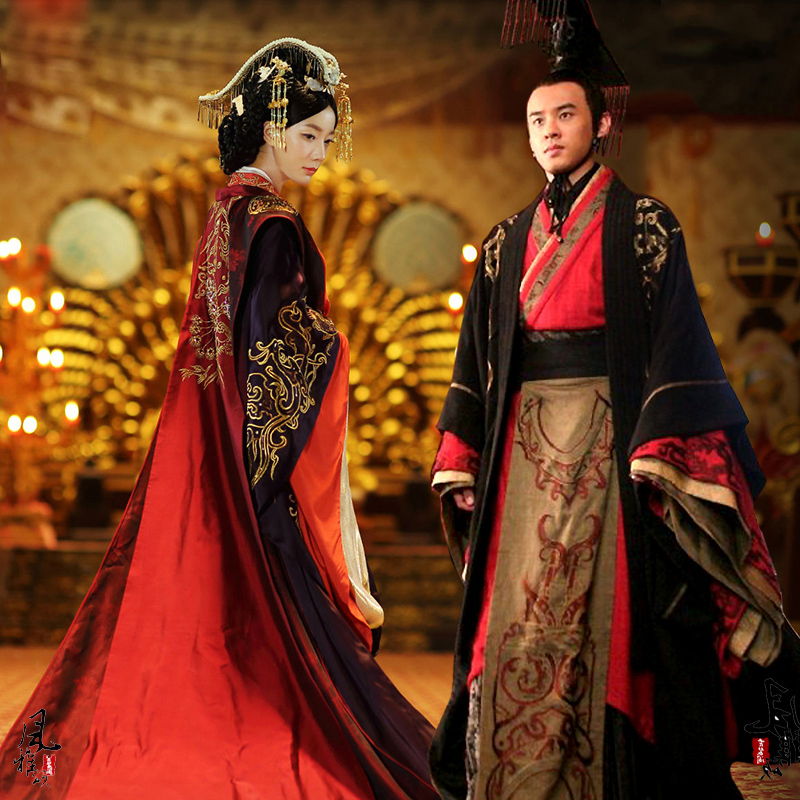 Chinese Ancient Wedding Hanfu Long Costume Han Dynasty Bride Groom Outfit Emperor Queen Royal Palace Wedding Gown Robe Dress