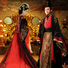 Chinese Ancient wedding Hanfu Long Costume Han Dynasty bride groom Outfit emperor queen Royal Palace Gown Robe dress