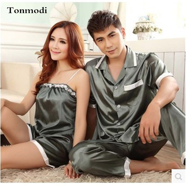 Pajamas Women Summer Silk Satin Sleepwear Love Men Sleep Ladies Pyjamas Women's Pajamas Sling Couple Pajamas Set