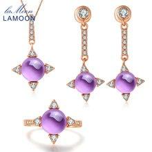 LAMOON Fine Jewelry 2.2ct Natrual Purple Amethyst 925 sterling-silver-jewelry Rose Gold Fashion Jewelry Set For Women V009-1