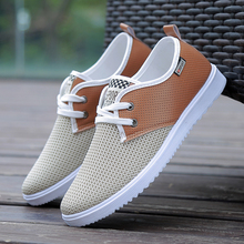 2019 Mens Casual Shoes Spring Air Mesh Cloth Patchwork Moccasins Canvas Leisure For Men Hiking