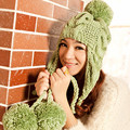 New Women's Thick Cable Handmade Knit Beanie Ear Muff Warm Hat with Top Ball