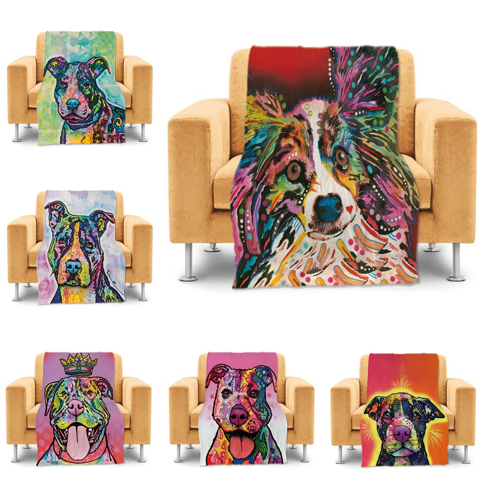 Cute Throw Blanket Funny Papillon Pet Dog Bed Sofa Couch
