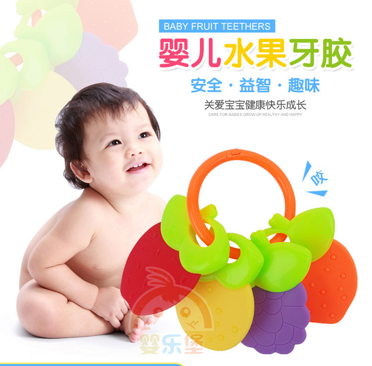 Best Selling Baby Toys Baby Can Boiled Fruit Teeth Gum Rattle Early Education Puzzle To Know Toys 0-3 Years Old 5 Sets