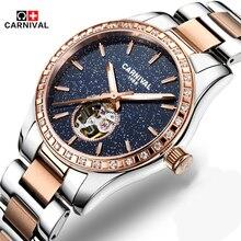 Carnival Fashion Luxury Women Watches Sapphire Steel Waterproof Watch Woman Luminous Automatic Mechanical Watch Relogio Feminino