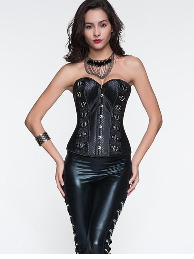 2016 Steampunk Top Gothic Punk Corsets And Bustiers Plus Size Fashion Black Women Shaper Harley Quinn Corset Top Overbust