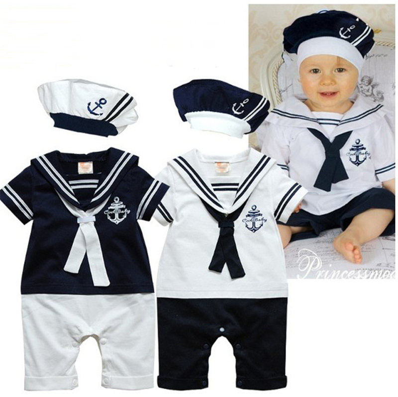 Summer Toddler Baby Boy Clothes Sailor Navy Romper+Hat Set Outfit Infant Jumpsuit Cotton Clothing Halloween Cosplay Costume