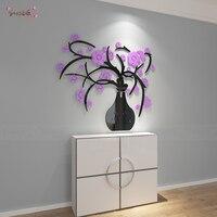Yaratıcı 3D üç boyutlu kristal vazo mor Çiçek duvar sticker yemek odası girişinde koridor arka plan duvar dekorasyon