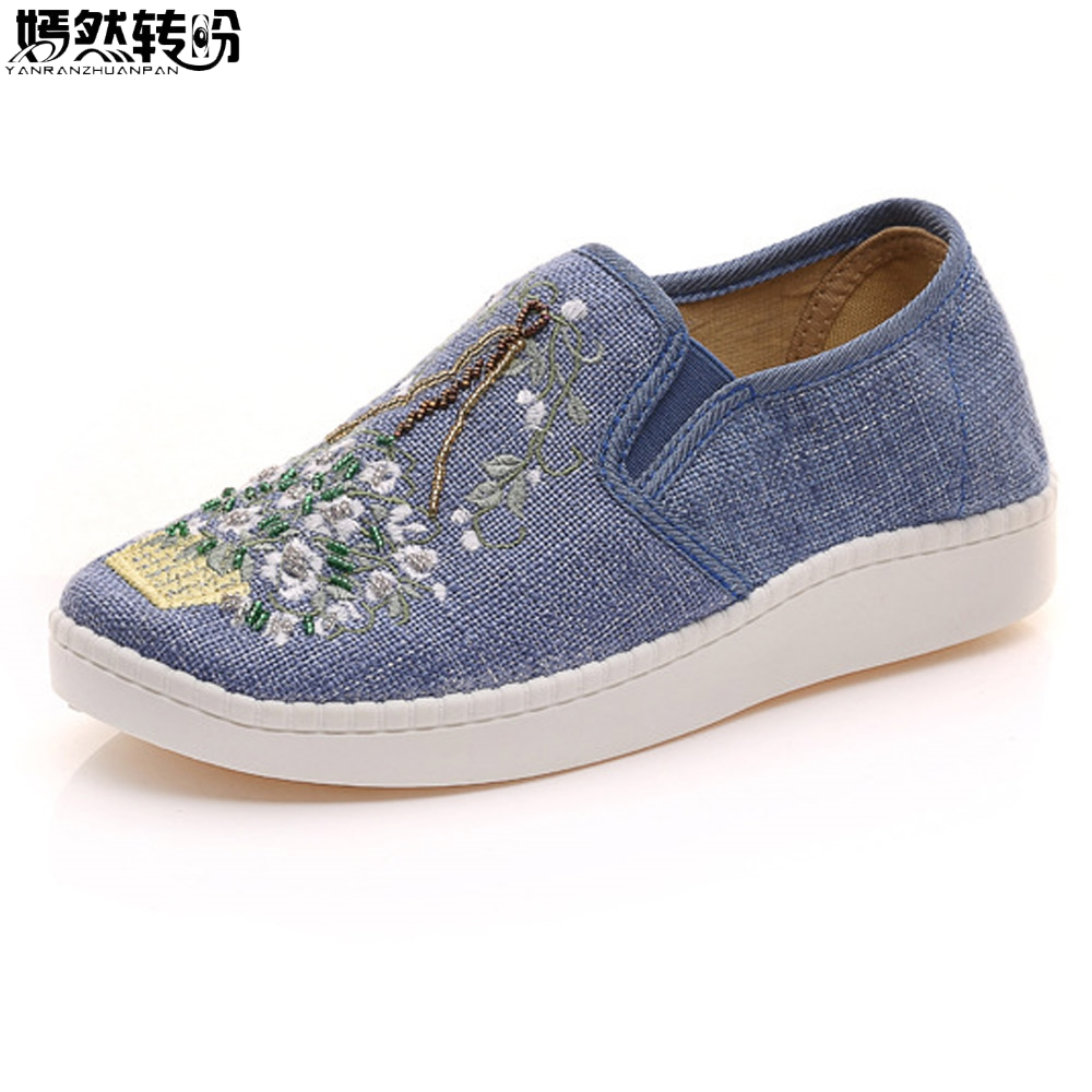 Women Flats Casual Shoes Slip On Bead Embroidery Shoes Retro Loafers Lady Cotton Cloth Shoes Sapato Feminino Plus Size 43 vintage embroidery women flats chinese floral canvas embroidered shoes national old beijing cloth single dance soft flats