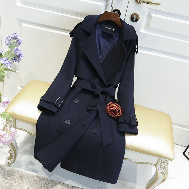 Windbreaker Female 2020 New Korean Spring Autumn British Double-breasted Slim Long Section Trench Coats For Women Outerwear X311