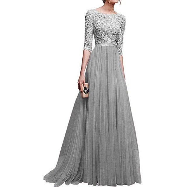 c4ef38d111f3 Women Dress Elegant Lady Dresses Gown Formal Dress Women Office Long Summer  Boho Dresses European Amazon Robe Dentelle Sukienki