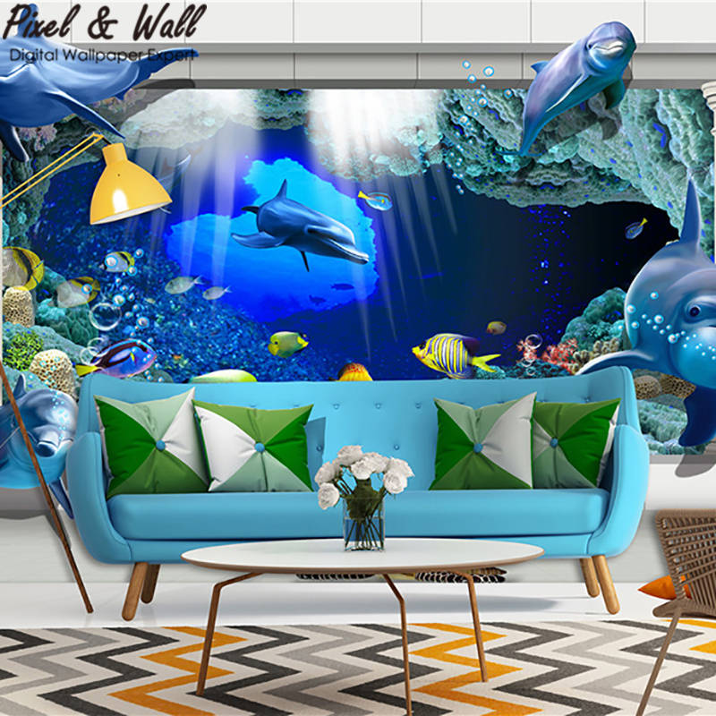 Dependable The Aquarium In The Frame 3d Mural Wallpaper Decoration Wall Sticker For Living Room Modern Stdm30755 Fragrant Aroma